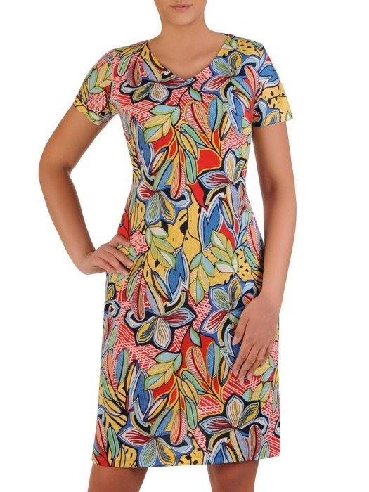 Sukienka w geometryczny wzór, prosty fason z dekoltem w serek 25961