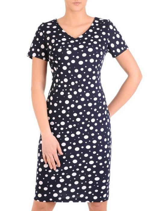 Sukienka w groszki, prosty fason z dekoltem w serek 28803