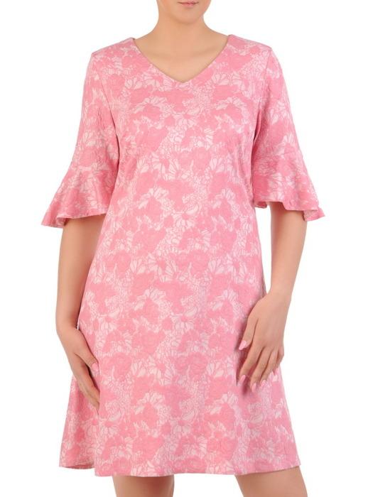 Sukienka w kwiaty, luźna kreacja z tkaniny 20918.