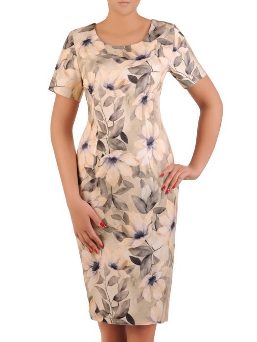 Sukienka w kwiaty, prosta kreacja z tkaniny 21221.