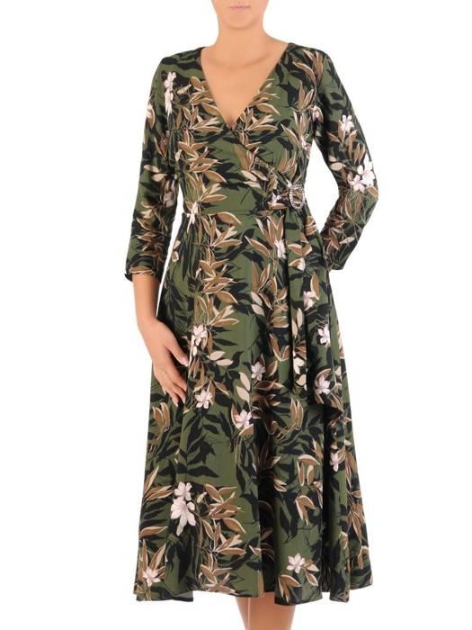 Sukienka w kwiaty, rozkloszowana kreacja z klamrą na boku 27204