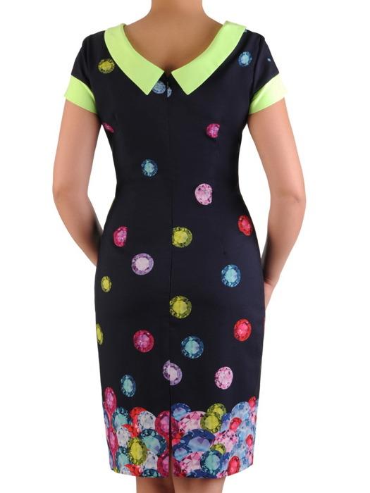 Sukienka w prostym fasonie, granatowa kreacja z kontrastowymi wstawkami 20497.
