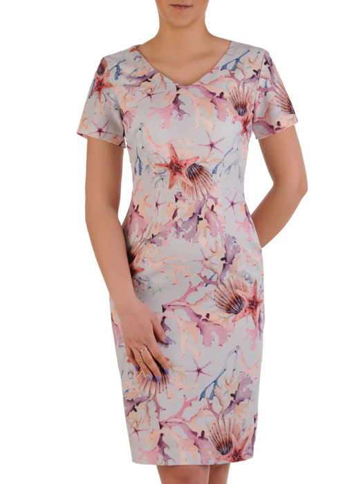 Sukienka w prostym fasonie, jasna kreacja z tkaniny 20498.