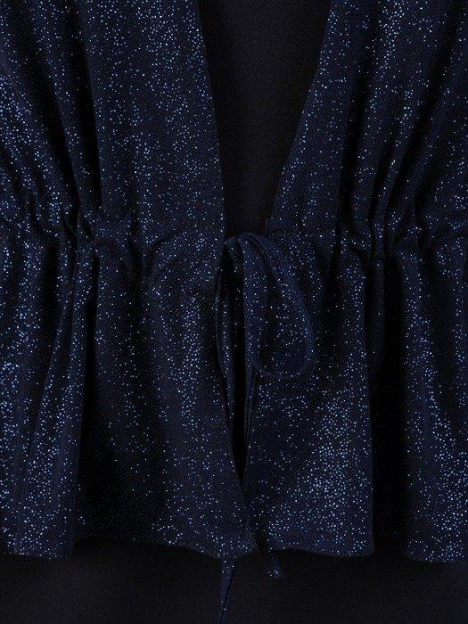 Sukienka wieczorowa, granatowa kreacja z wyszczuplającą baskinką 24010