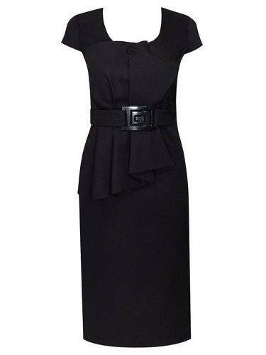 Sukienka wieczorowa z modnym paskiem Marcelina IV, wytworna kreacja z satyny
