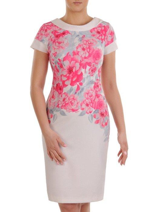 Sukienka wiosenna, wyszczuplająca kreacja z tkaniny 19824.
