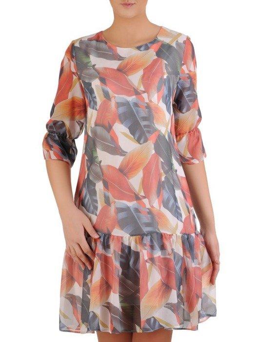 Sukienka wiosenna, zwiewna kreacja z ozdobną falbaną 25434