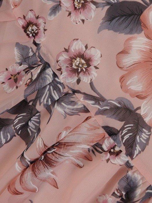 Sukienka wiosenna, zwiewna kreacja z ozdobną falbaną 25436