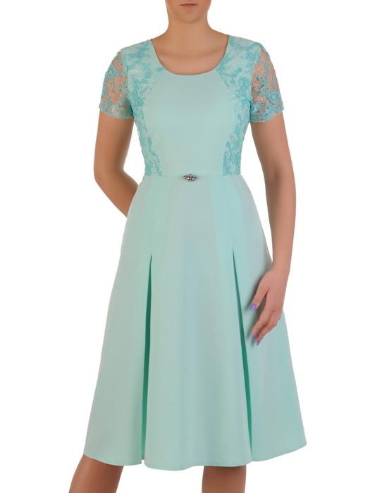 Sukienka wizytowa, miętowa kreacja z koronki i tkaniny 20506.