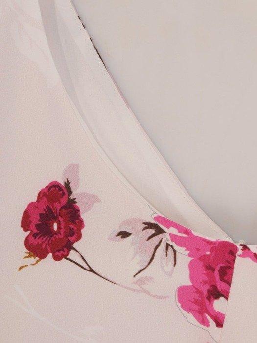 Sukienka wizytowa, rozkloszowana kreacja w kwiaty 26022