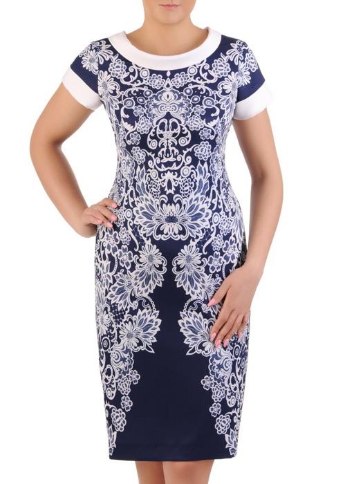Sukienka wizytowa, wiosenna kreacja w wyszczuplającym wzorze 20938.