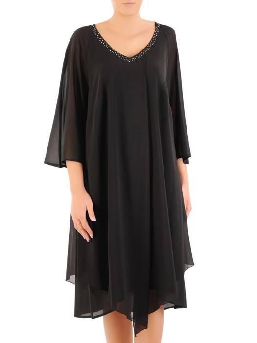 Sukienka wyjściowa, czarna kreacja w asymetrycznym fasonie 30446