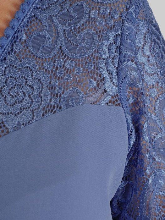 Sukienka wyjściowa, niebieska kreacja z ozdobnym dekoltem 20044.