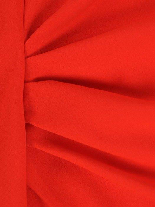Sukienka wyjściowa, pomarańczowa kreacja z ozdobnymi falbanami 25106