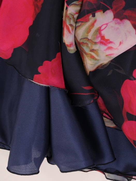 Sukienka wyjściowa, rozkloszowana kreacja w kwiaty 31211