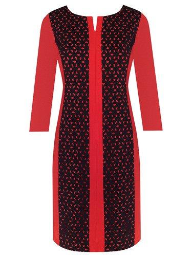 Sukienka wyszczuplająca Celestyna III, czerwono-czarna kreacja na jesień.