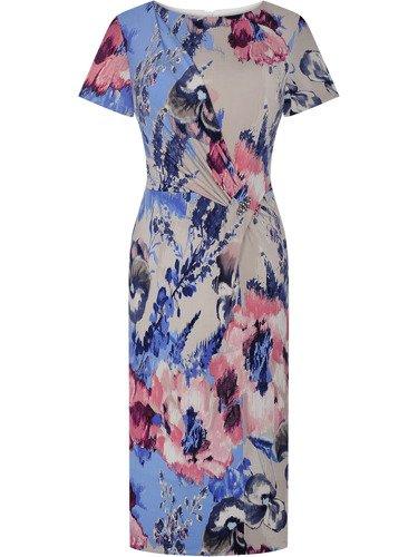 Sukienka z atrakcyjnym marszczeniem Albina, wiosenna kreacja z broszką.