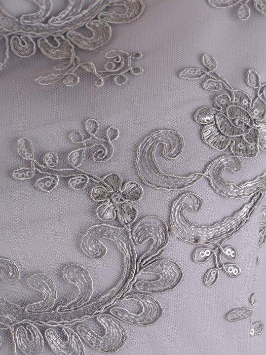 Sukienka z cekinowym wykończeniem, popielata kreacja na wesele 19403