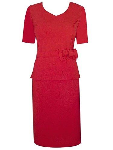 Sukienka z dekoracyjnym paskiem Adelajda V, kreacja wyjściowa ozdobiona kokardą