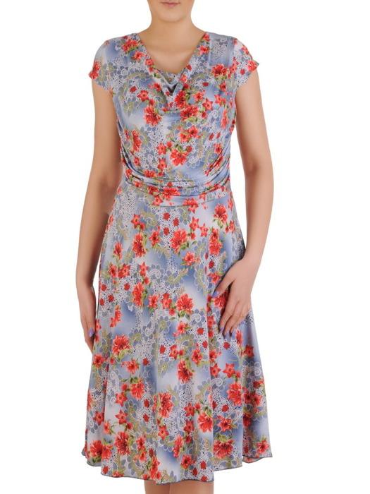 """Sukienka z dzianiny, elastyczna kreacja z dekoltem typu """"woda"""" 20514."""
