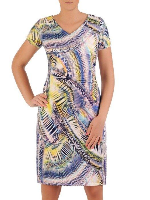 Sukienka z dzianiny, prosta kreacja w oryginalnym wzorze 26210