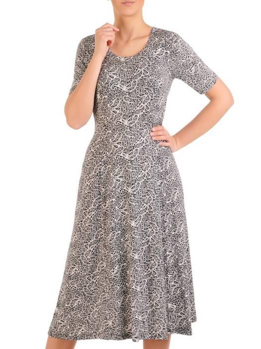 Sukienka z dzianiny, rozkloszowana kreacja damska 29892
