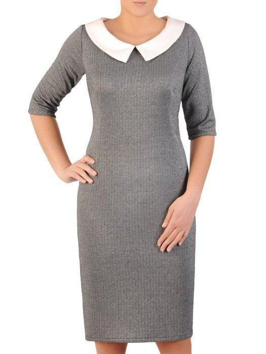 Sukienka z dzianiny, wyszczuplająca kreacja z kołnierzem 24154