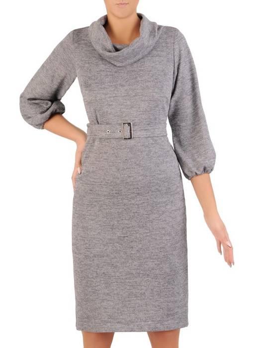 Sukienka z golfem, szara kreacja z paskiem 27481