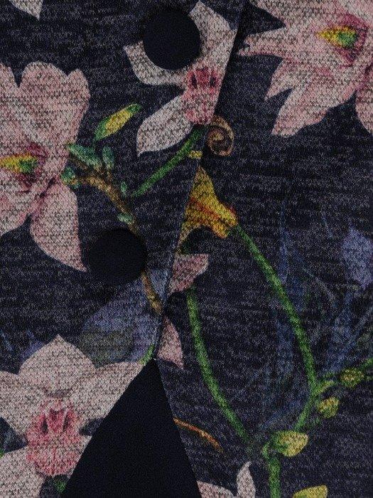 Sukienka z imitacją żakietu, prosta kreacja z ozdobnym kołnierzem 23780