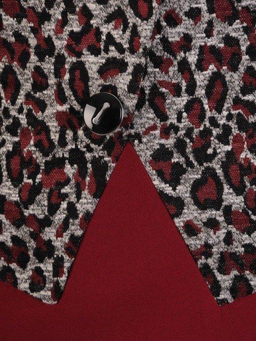 Sukienka z imitacją żakietu, prosta kreacja z ozdobnym kołnierzem 24562