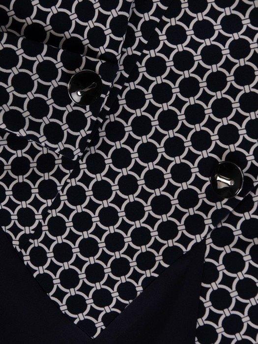Sukienka z imitacją żakietu, prosta kreacja z ozdobnym kołnierzem 24670