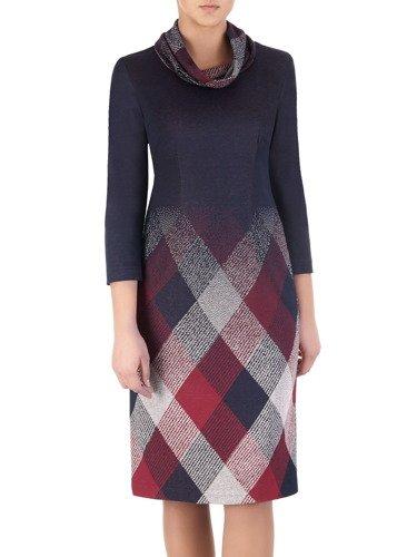Sukienka z kominem Krystyna I, jesienna kreacja z bawełny.