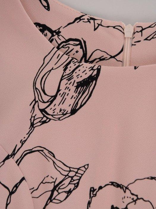 Sukienka z kontrastowym nadrukiem Otylia II, wiosenna kreacja w kwiaty