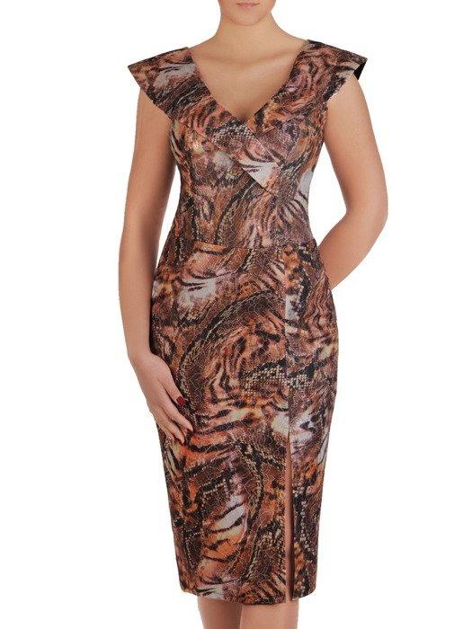 Sukienka z kopertowym dekoltem i atrakcyjnym rozcięciem 19000