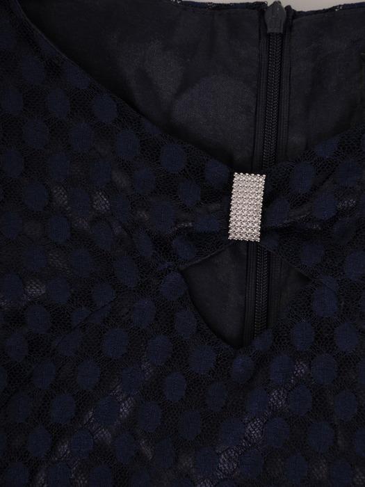 Sukienka z koronki, luźna kreacja w groszki 21439.