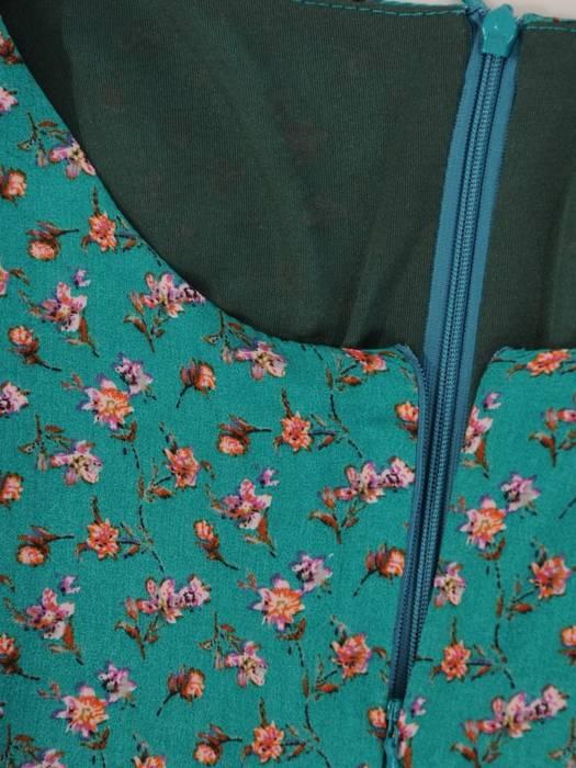 Sukienka z kwiaty, długa kreacja z paskiem 28932