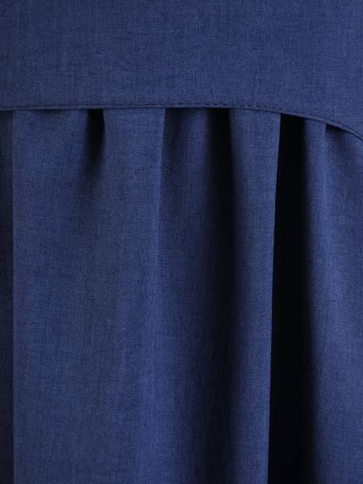 Sukienka z lnu, granatowa kreacja w luźnym fasonie 26431