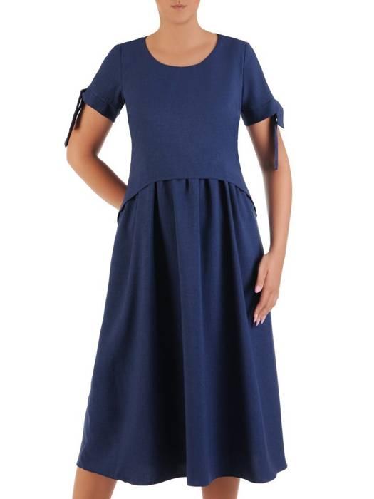 Sukienka z lnu, granatowa kreacja w luźnym fasonie 26432 (dłuższa wersja)