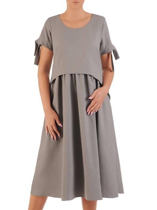Sukienka z lnu, letnia kreacja w luźnym fasonie (dłuższa wersja) 26434