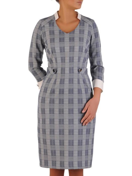 Sukienka z modną stójką i kontrastowymi mankietami 22383