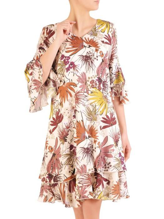 Sukienka z modnymi falbanami, zwiewna kreacja w kwiaty 29529