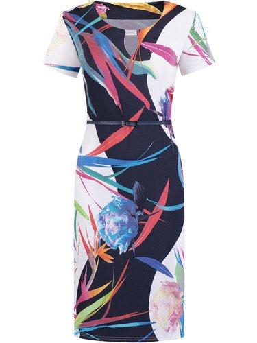 Sukienka z ozdobnie wykrojonym dekoltem Grażyna VIII, wiosenna kreacja z dzianiny.