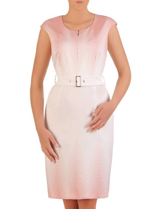Sukienka z paskiem, koktajlowa kreacja z tkaniny 26284