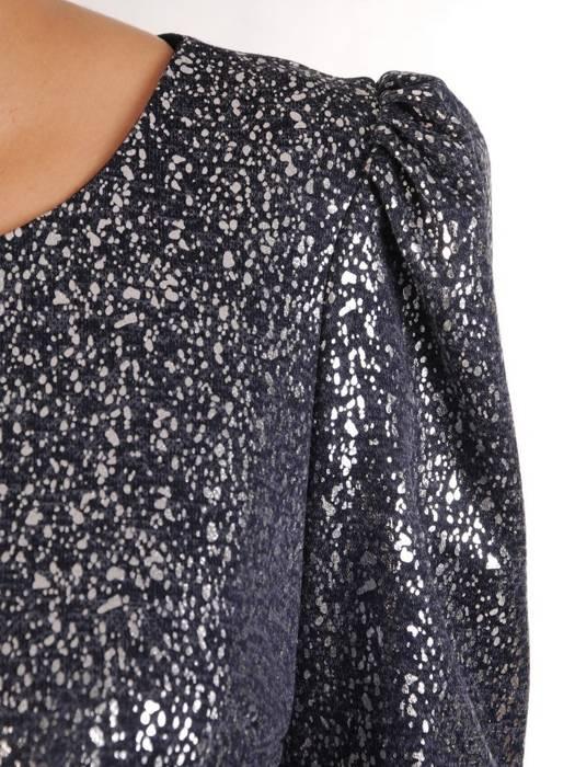 Sukienka z paskiem, połyskująca kreacja z modnymi rękawami 27611