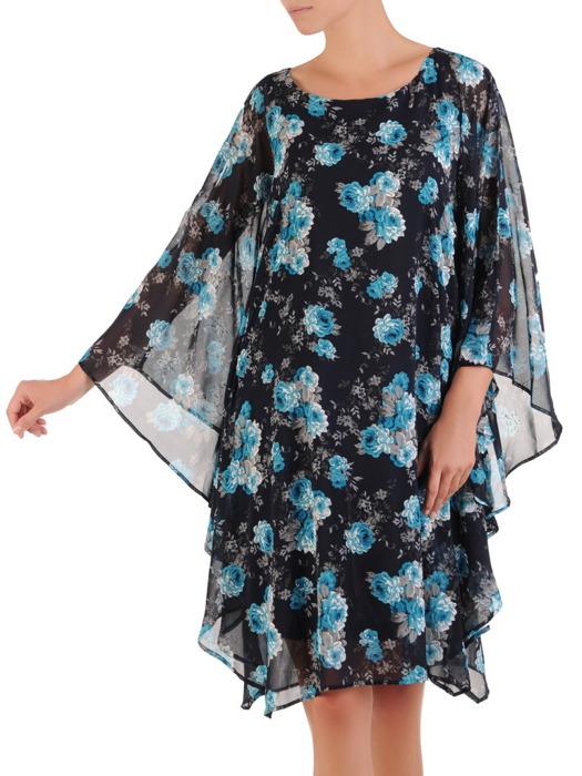 Sukienka z szyfonu, nowoczesna kreacja w fasonie maskującym brzuch 21583.