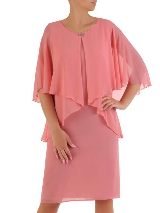 Sukienka z szyfonu, różowa kreacja w fasonie maskującym brzuch 26444