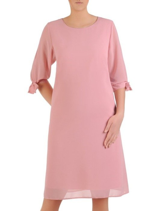 Sukienka z szyfonu, wiosenna kreacja z ozdobnymi rękawami 25793