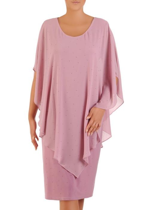 Sukienka z szyfonu wykończona dżetami, nowoczesna kreacja z narzutką 21428