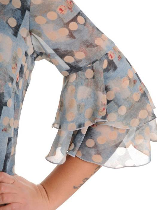 Sukienka z szyfonu, zwiewna kreacja w grochy 27952
