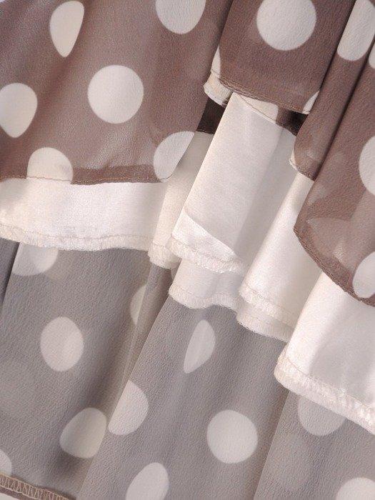 Sukienka z szyfonu, zwiewna kreacja w groszki 26224